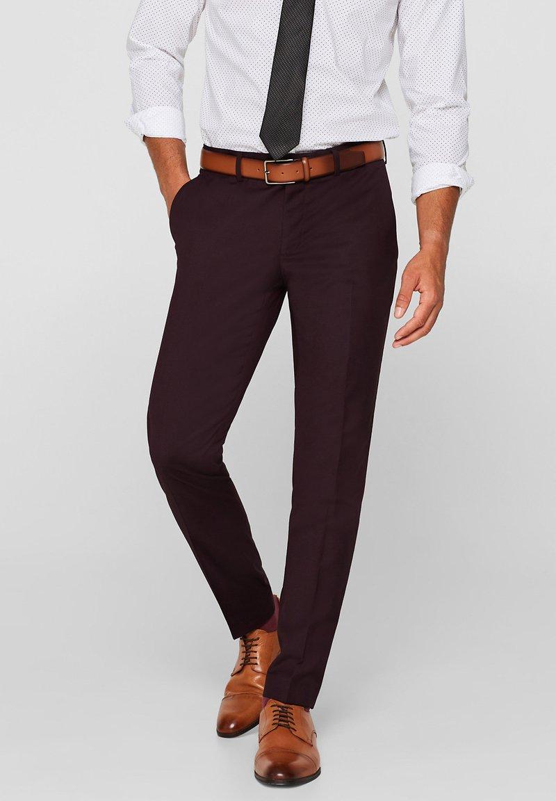 Esprit Collection - MIT BÜGELFALTE - Suit trousers - bordeaux red
