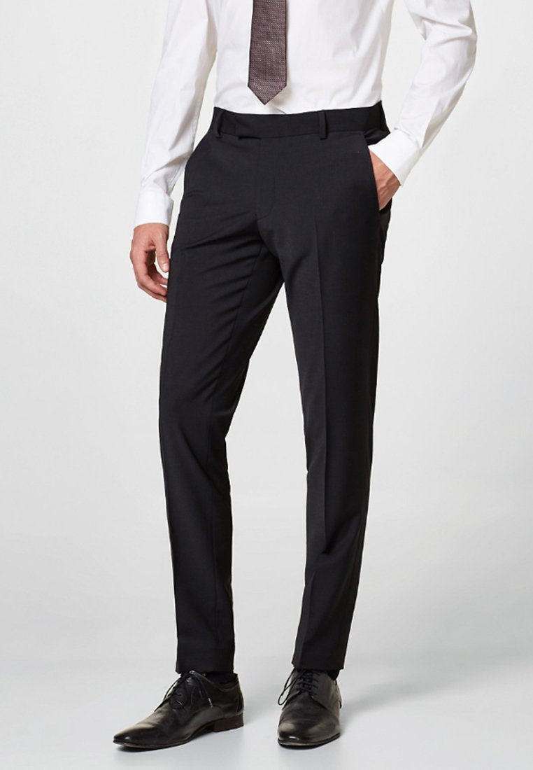 Esprit Collection - ACTIVE SUIT AUS WOLL-MIX - Pantaloni eleganti - black