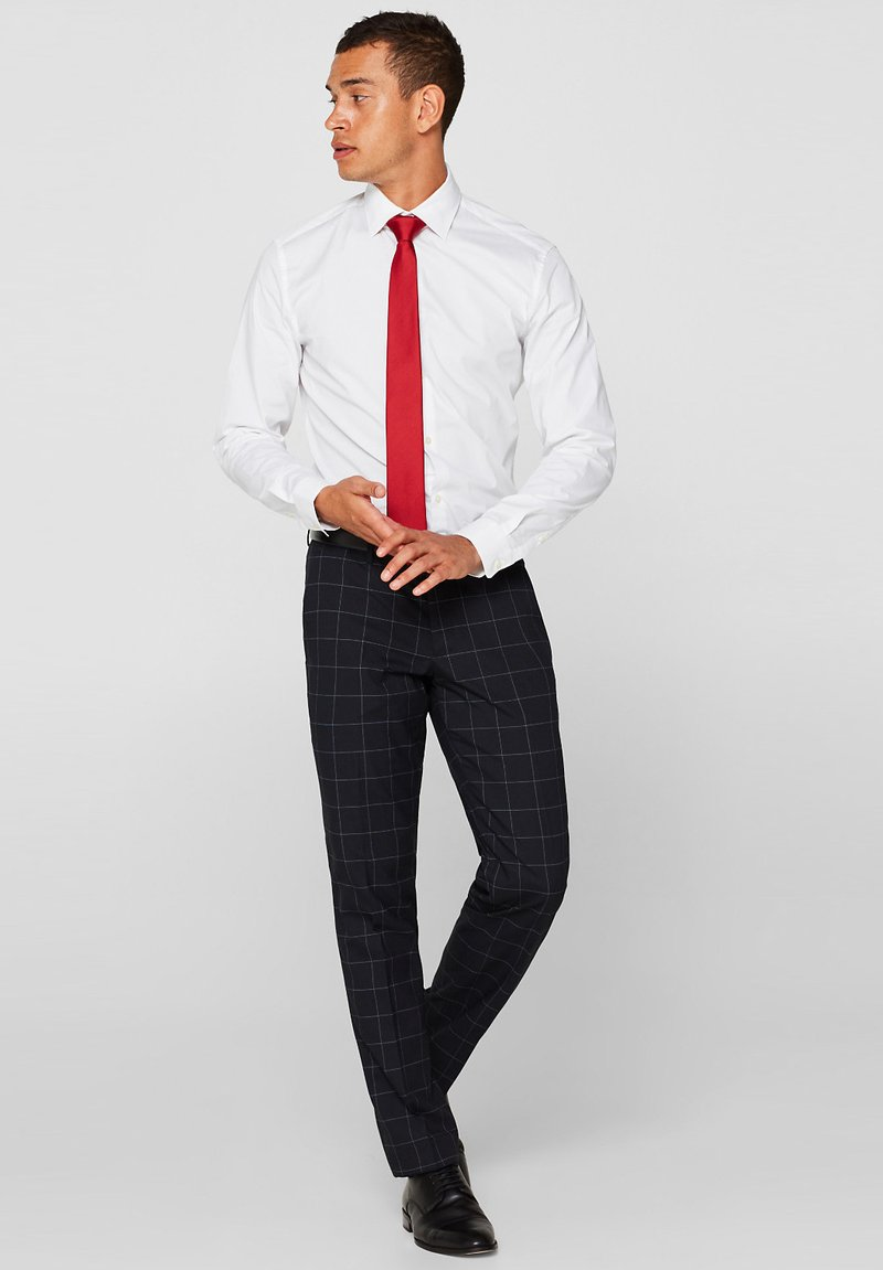 Esprit Collection - MIT GITTER-MUSTER - Suit trousers - navy
