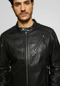 Esprit Collection - BIKER - Leather jacket - black