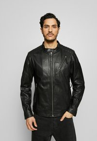 Esprit Collection - BIKER - Leather jacket - black - 0
