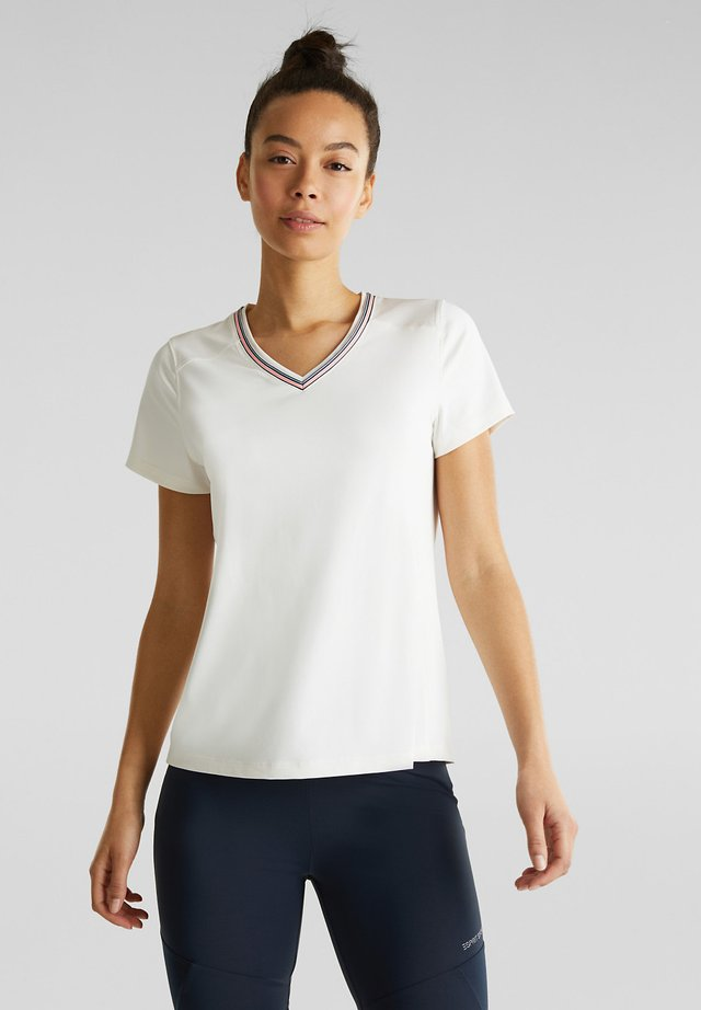 V-NECK-SHIRT MIT LOCHMUSTER, E-DRY - T-shirts print - off white