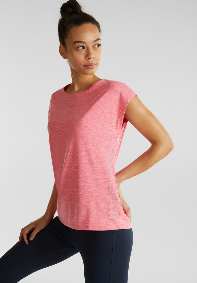MELANGE-SHIRT MIT LOGO-PRINT, E-DRY - Print T-shirt - coral