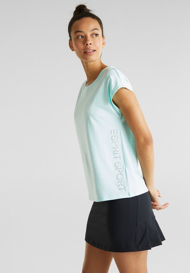 MELANGE-SHIRT MIT LOGO-PRINT, E-DRY - Print T-shirt - turquoise
