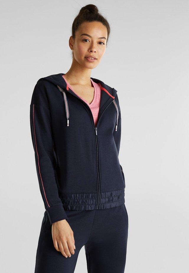 MIT NYLON-DETAILS - Zip-up hoodie - navy
