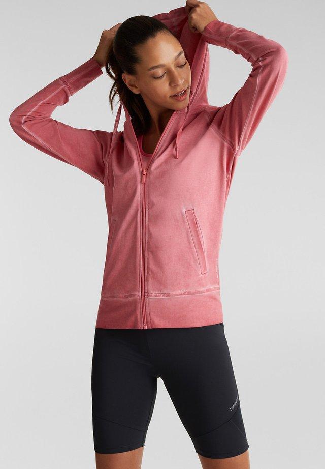 Zip-up hoodie - coral red