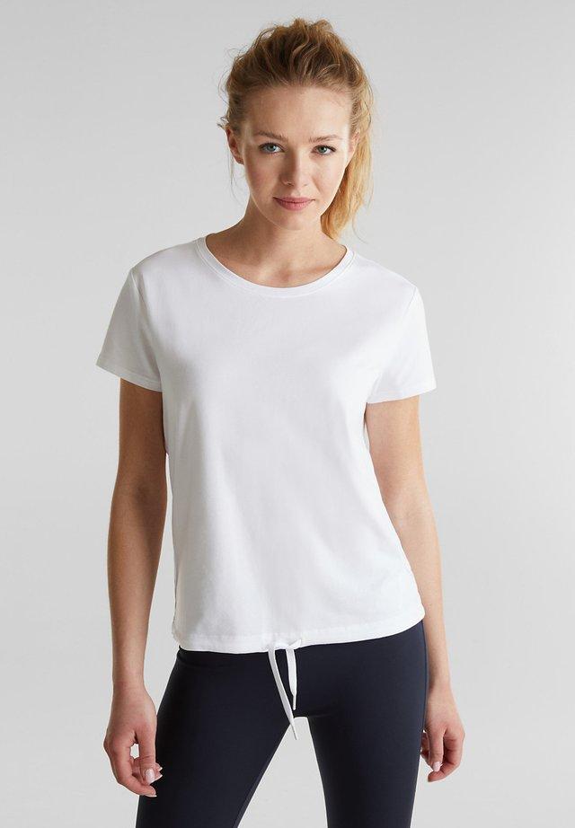 MIT MESH-EINSATZ - Print T-shirt - white