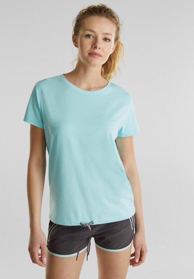 MIT MESH-EINSATZ - Print T-shirt - turquoise