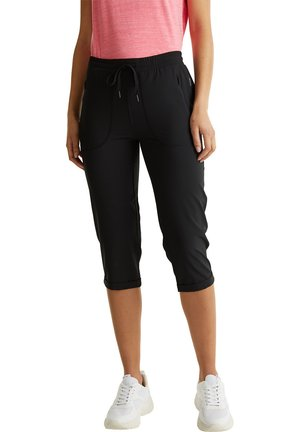WEB-CAPRI MIT SAUM-TURN-UPS, E-DRY - 3/4 sports trousers - black