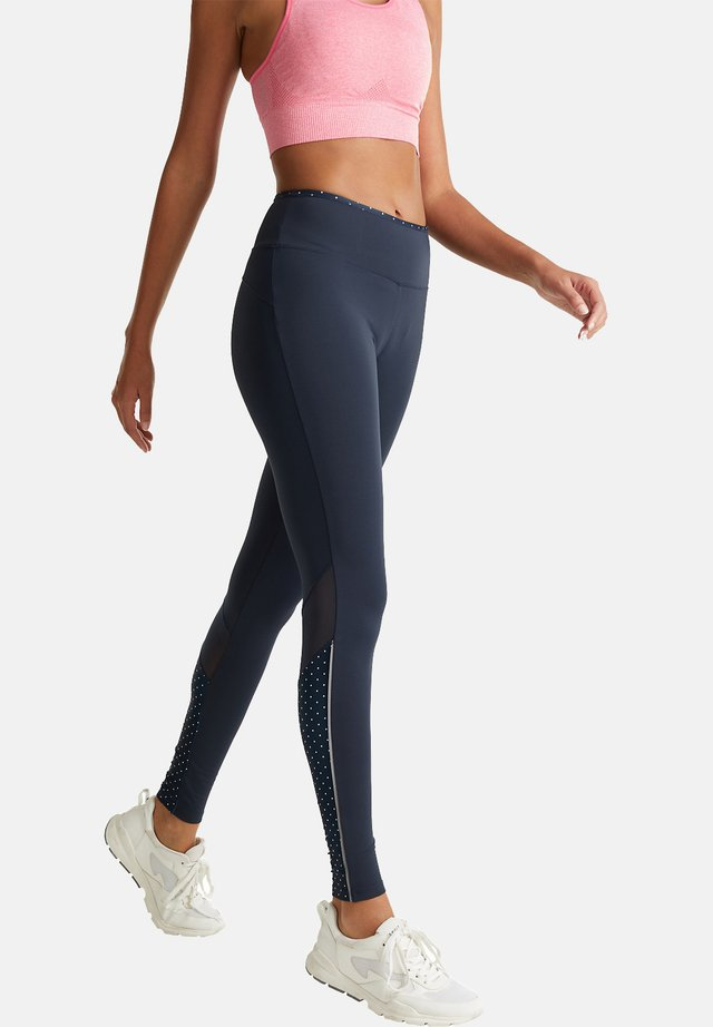 LEGGINGS MIT PUNKTE-DETAILS, E-DRY - Tights - navy