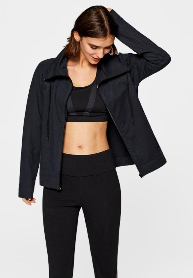 Esprit Sports - MIT VARIABLEM KRAGEN - Sweatjacke - black