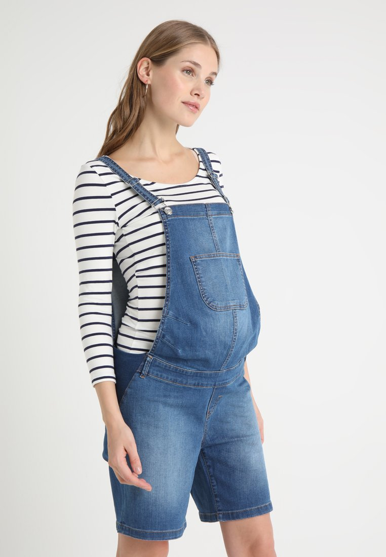 Esprit Maternity - DUNGAREE BERMUDA - Lacláče - medium wash