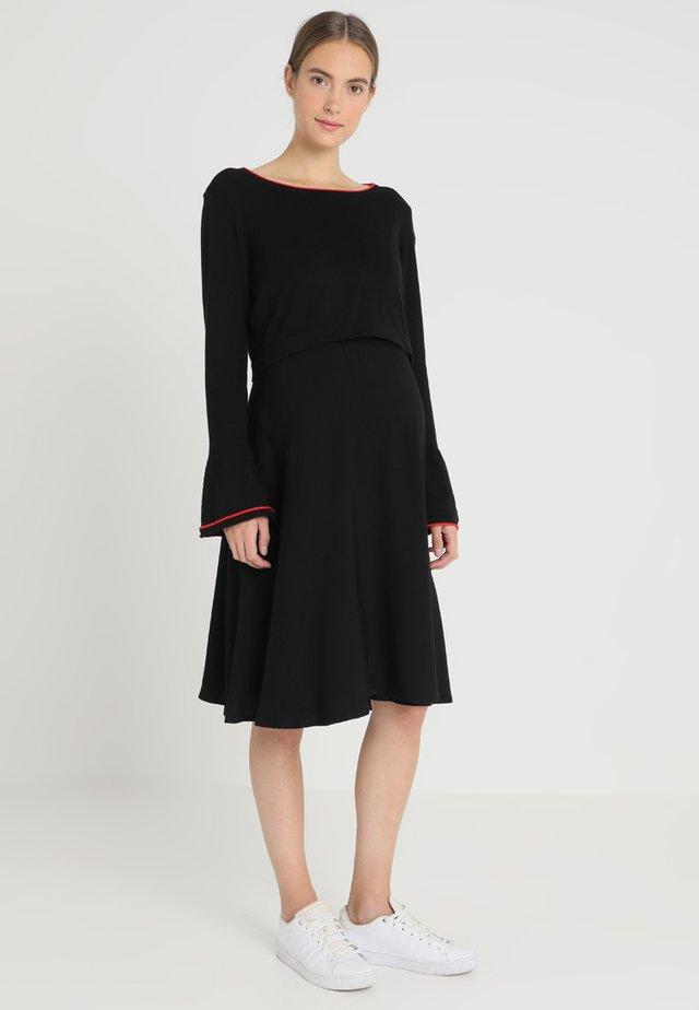 DRESS MIX NURSING - Gebreide jurk - black