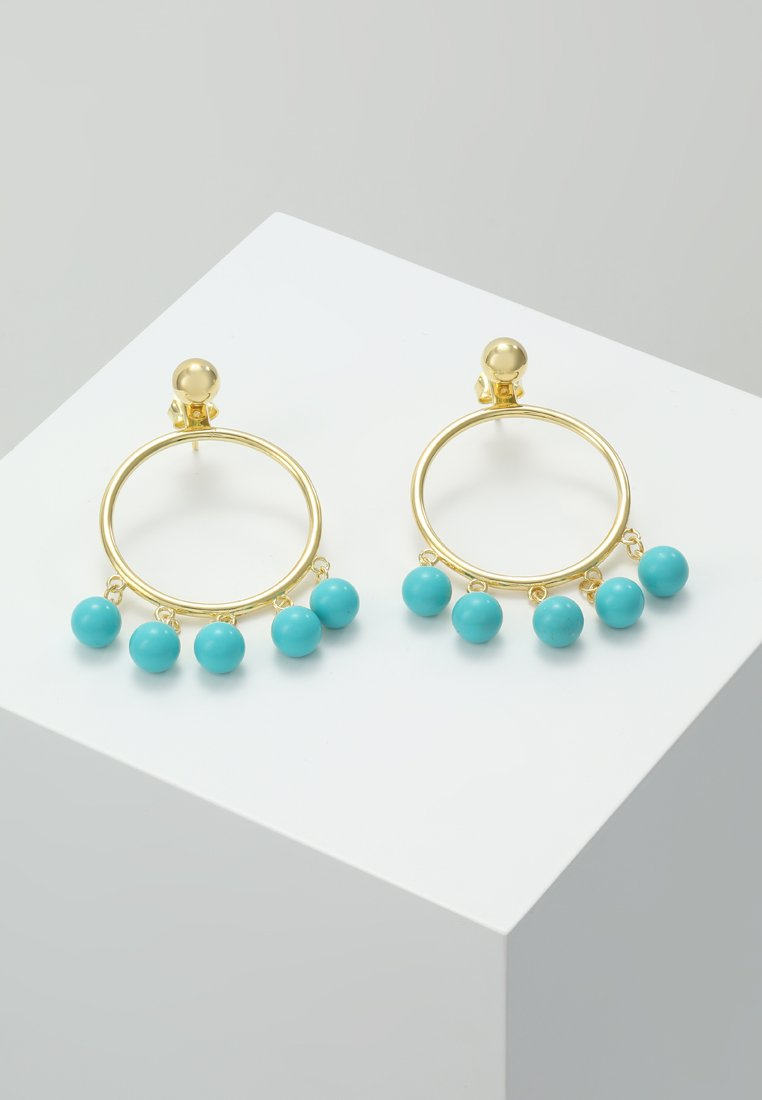 Eshvi - FANG PEARL CHARMS - Ohrringe - gold-coloured/turquoise