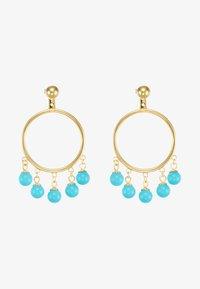 Eshvi - FANG PEARL CHARMS - Ohrringe - gold-coloured/turquoise - 5