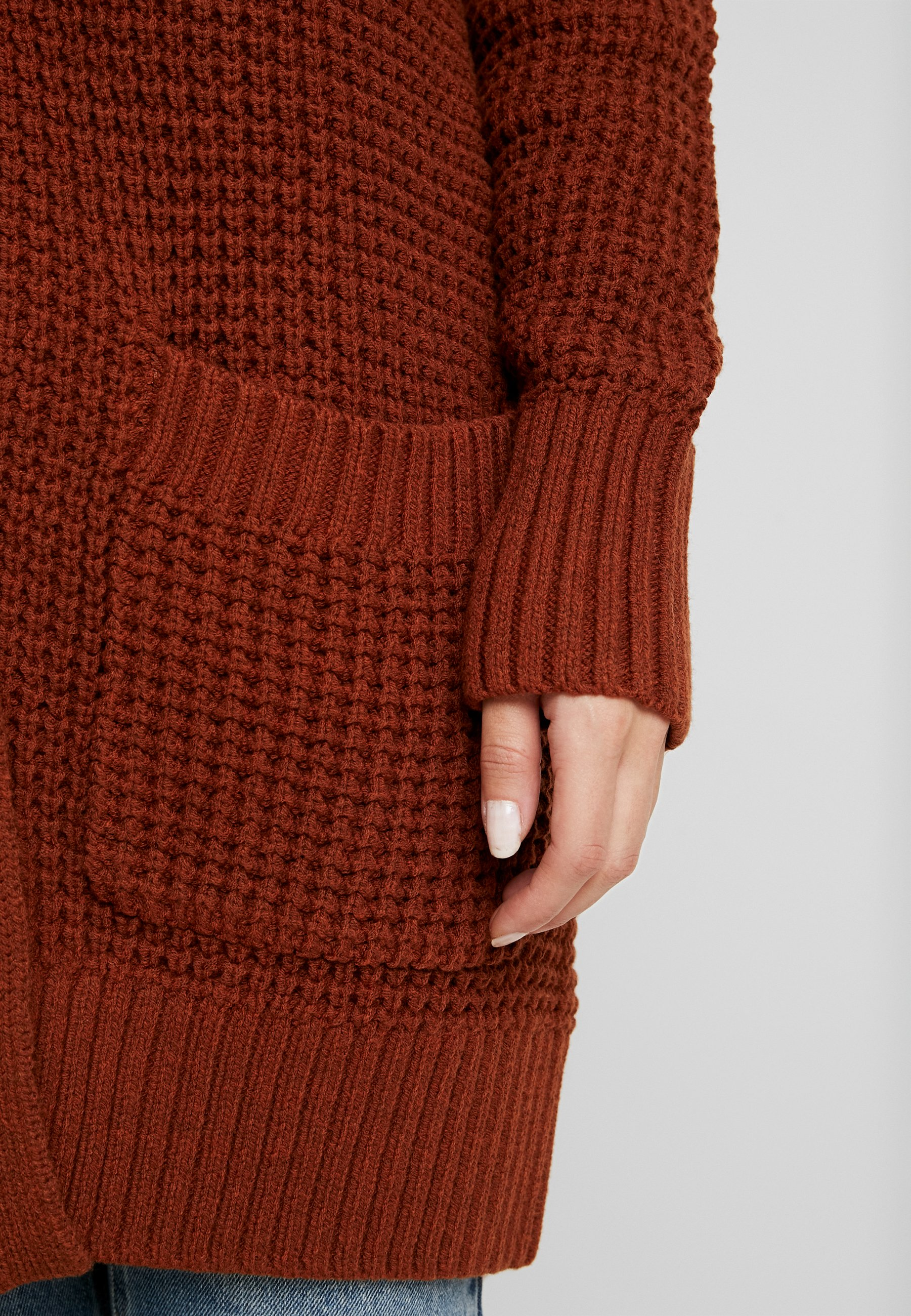 Esprit Petite LONG HOODED - Cardigan - rust brown