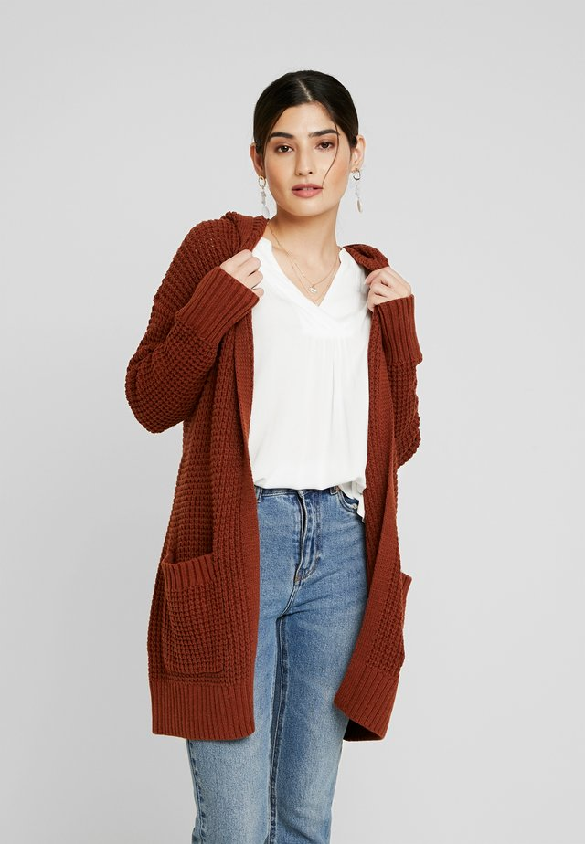 LONG HOODED - Cardigan - rust brown