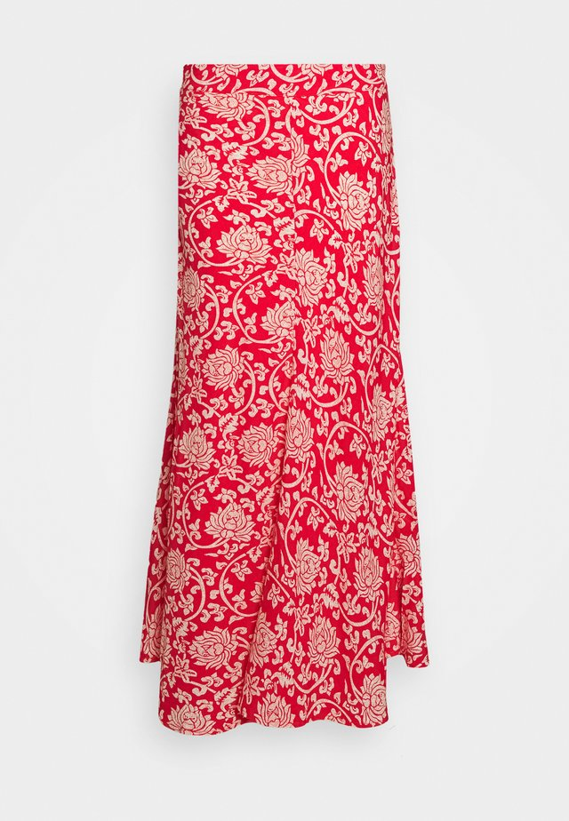 SKIRT FRONTSEAM ETHNIC PRINT - Maxi skirt - red