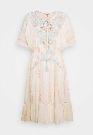 KIMONO EMBROIDERY - Korte jurk - beige