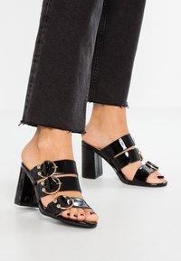 Even&Odd - Pantofle na podpatku - black - 0