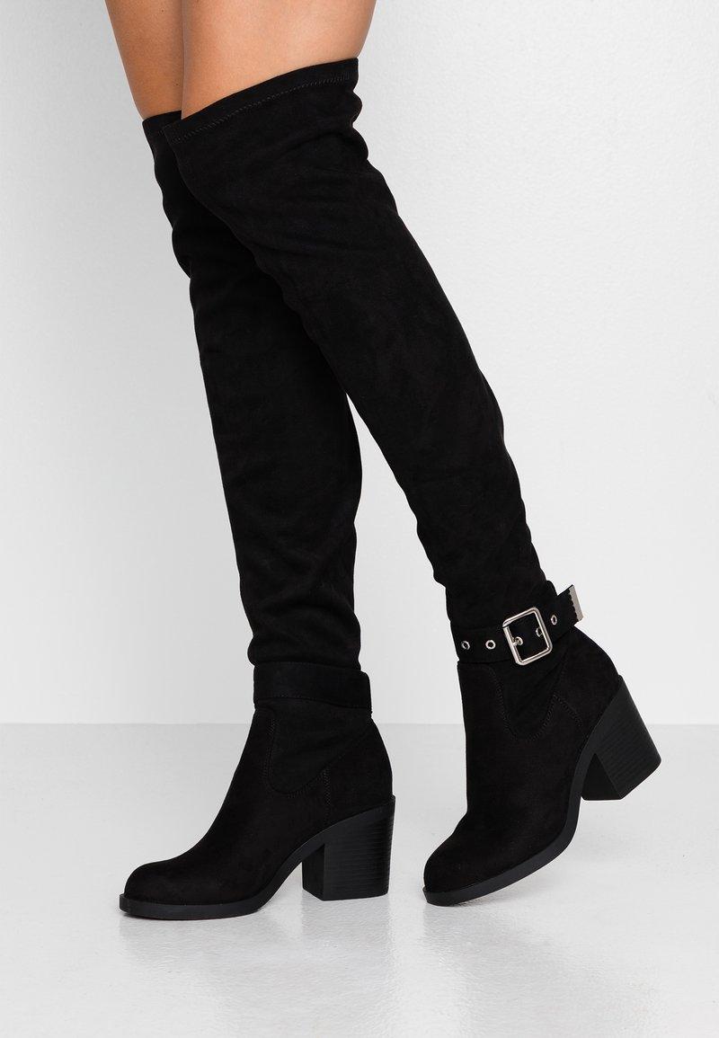Even&Odd - Kozačky nad kolena - black
