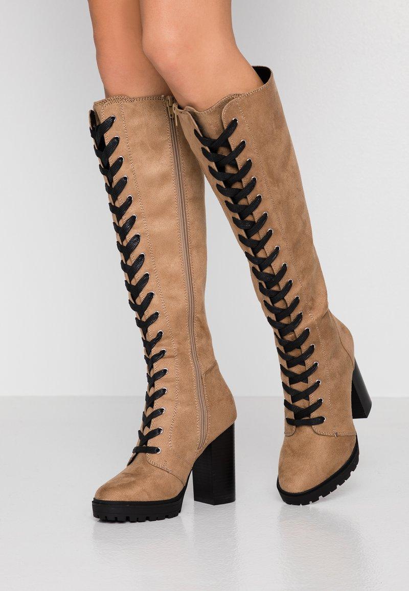 Even&Odd - Laarzen met hoge hak - sand