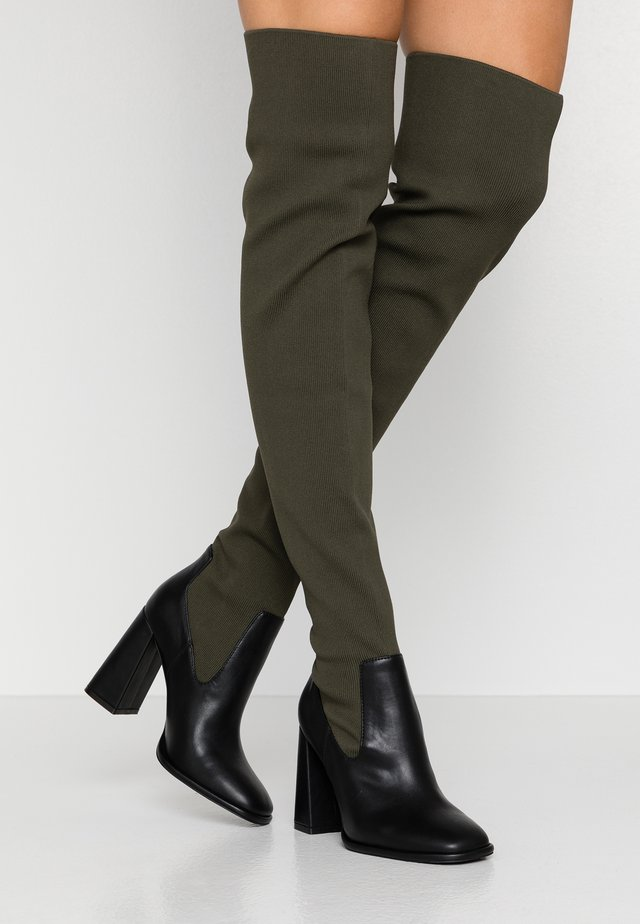 High heeled boots - khaki