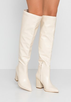 High heeled boots - offwhite