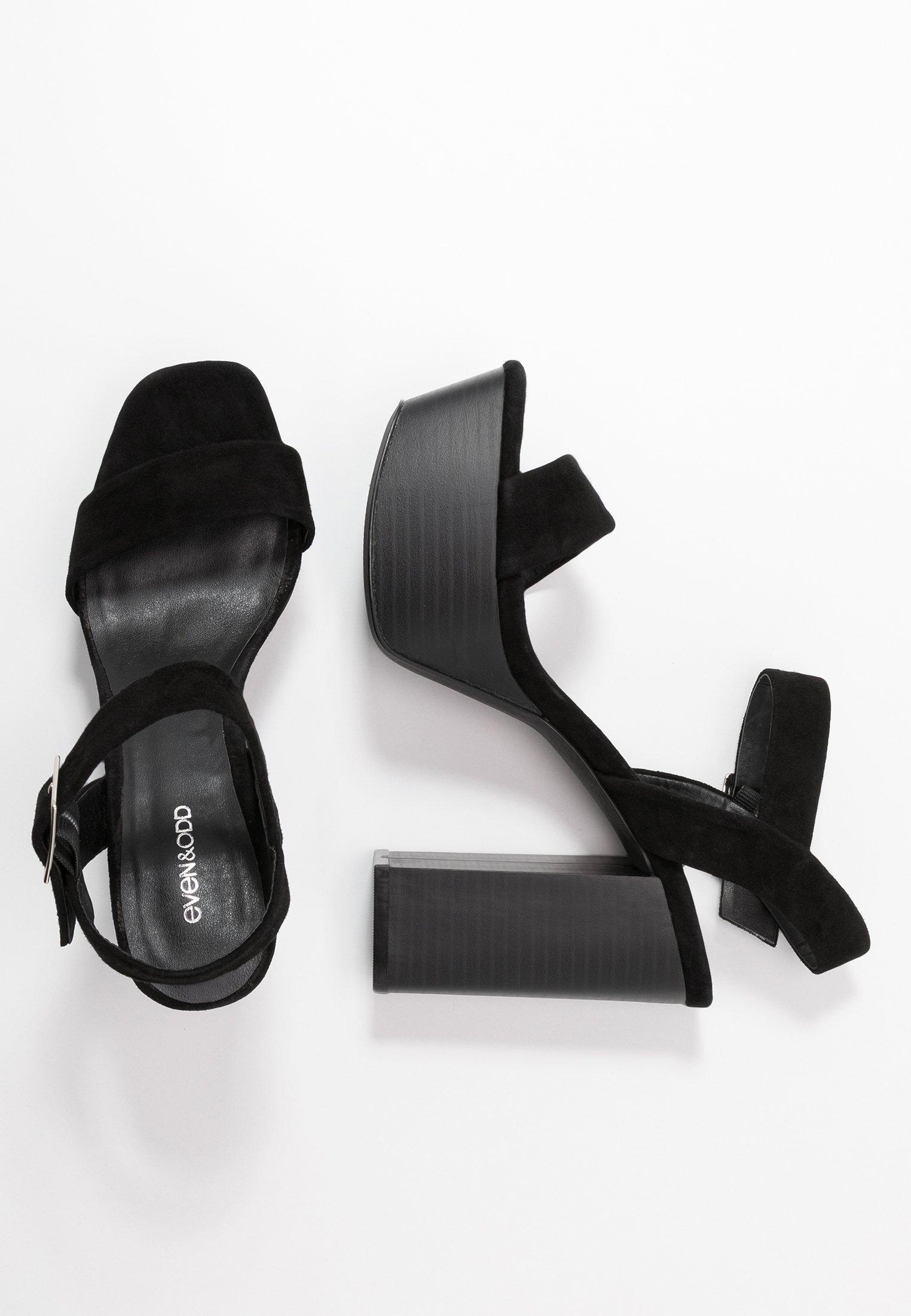 Even&odd Leather Platform Heeled Sandal - Sandalen Met Hoge Hak Black Goedkope Schoenen