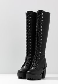 Even&Odd - LEATHER PLATFORM LACEUP BOOT - Laarzen met hoge hak - black - 4