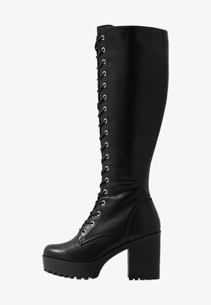 LEATHER PLATFORM LACEUP BOOT - Boots med høye hæler - black