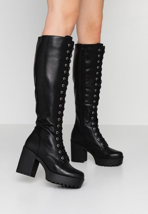 LEATHER PLATFORM LACEUP BOOT - High heeled boots - black