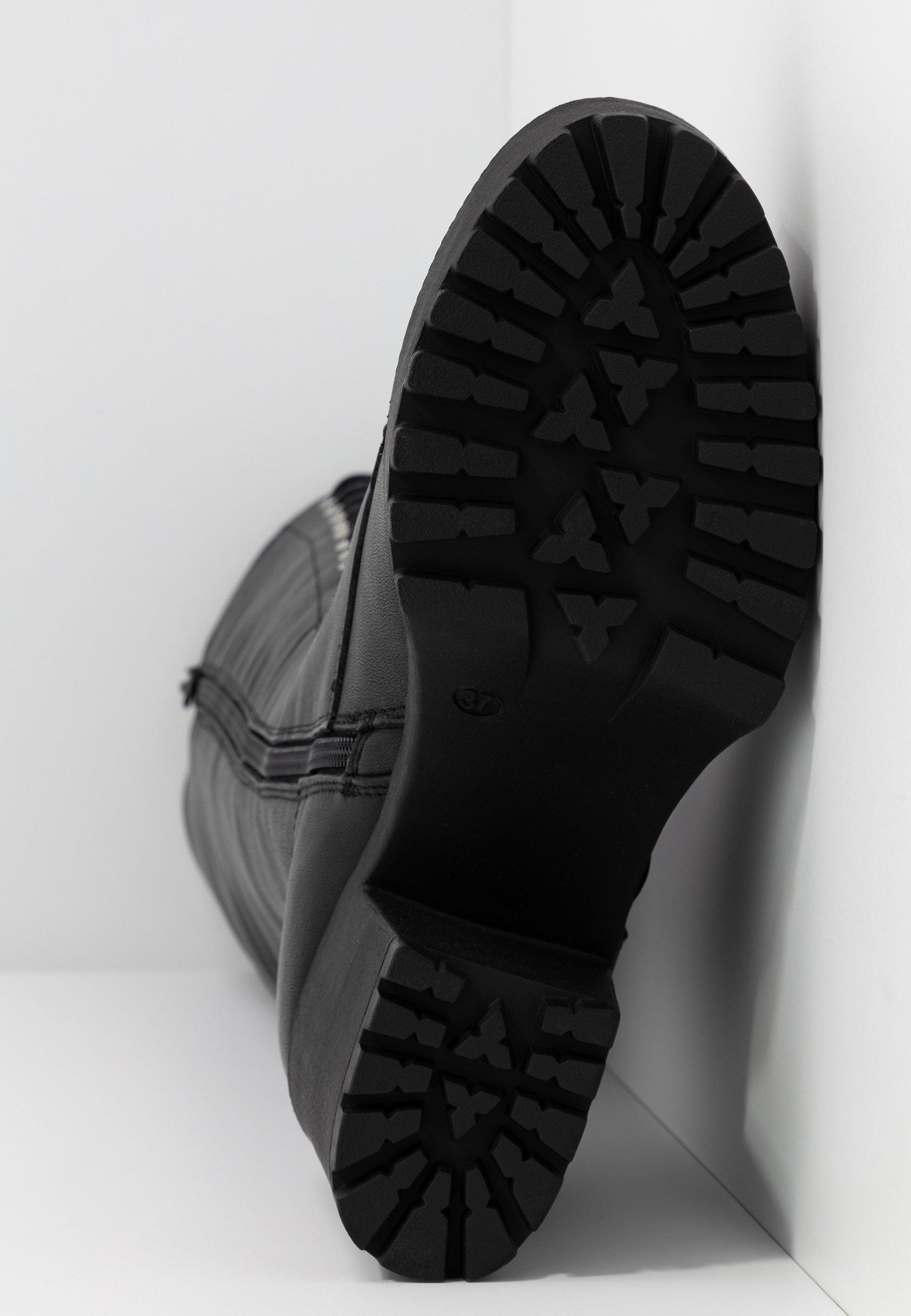 Even&Odd LEATHER PLATFORM LACEUP BOOT - Kozaki na obcasie - black