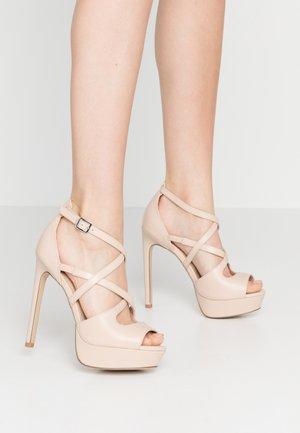LEATHER - Sandalen met hoge hak - nude
