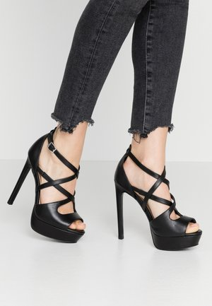LEATHER - Sandalen met hoge hak - black