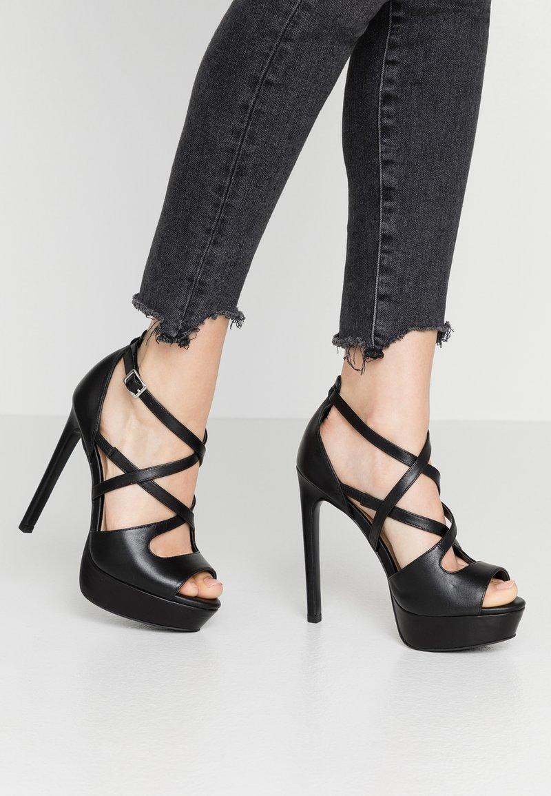 Even&Odd - LEATHER - High heeled sandals - black