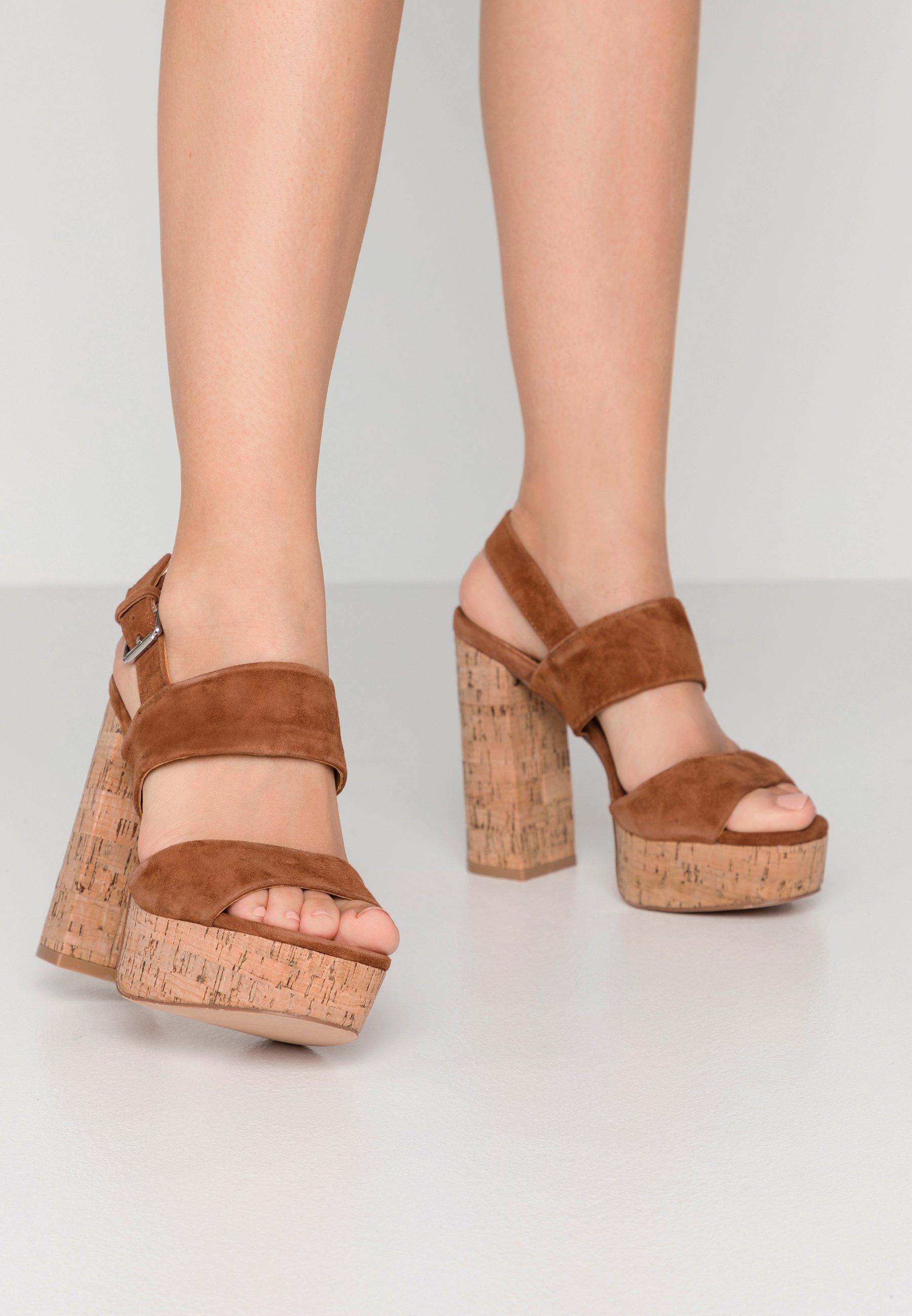 Even&odd Leather - High Heeled Sandals Cognac