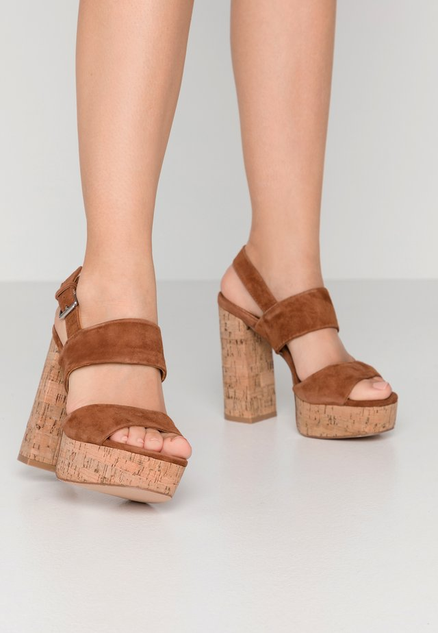 LEATHER - High heeled sandals - cognac