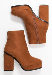 Even&Odd - Kotníková obuv na vysokém podpatku - cognac - 3