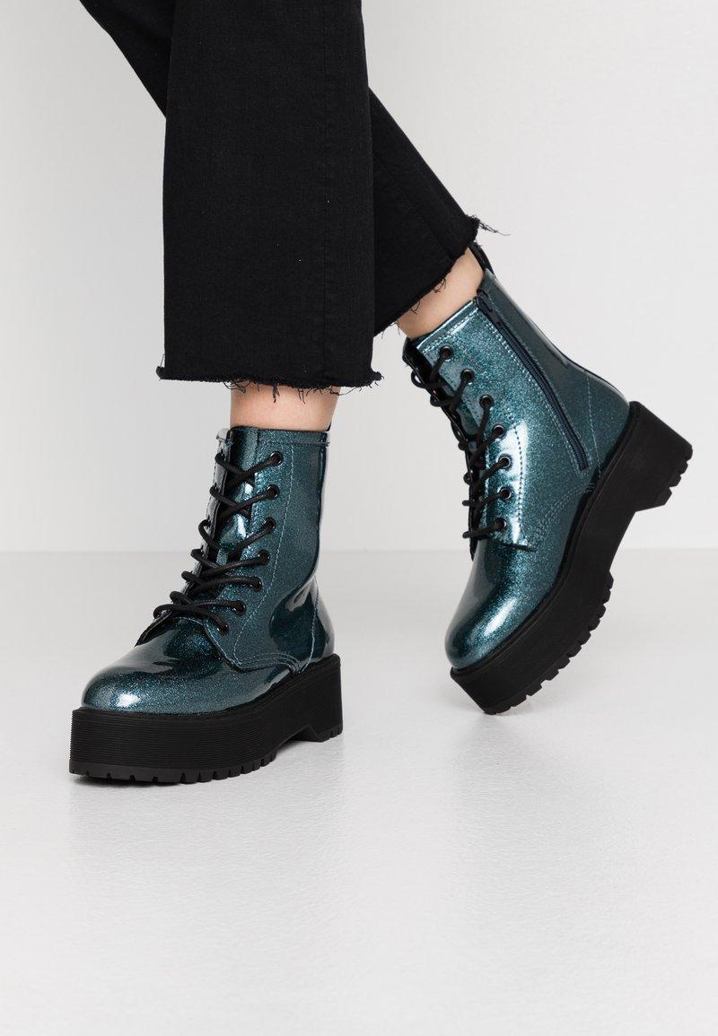 Even&Odd - Kotníkové boty na platformě - blue