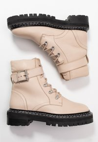 Even&Odd - LEATHER LACEUP BOOTIE - Santiags - beige - 3