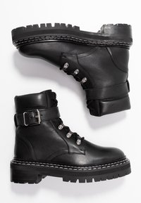 Even&Odd - LEATHER LACEUP BOOTIE - Botines camperos - black - 3