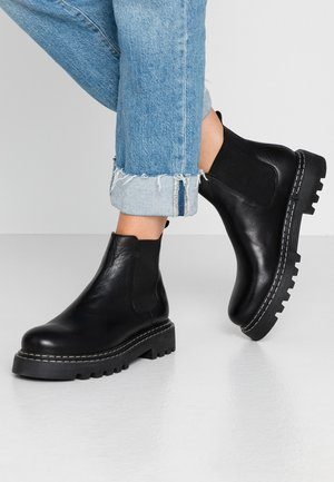 LEATHER CHELSEA BOOTIE - Platåstøvletter - black