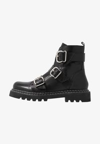 Even&Odd - LEATHER PLATFORM BOOTIE - Botines camperos - black - 1