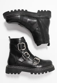 Even&Odd - LEATHER PLATFORM BOOTIE - Botines camperos - black - 3