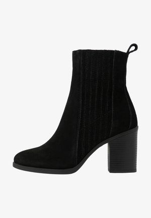 LEATHER CHELSEA BOOTIE - Ankelboots med høye hæler - black