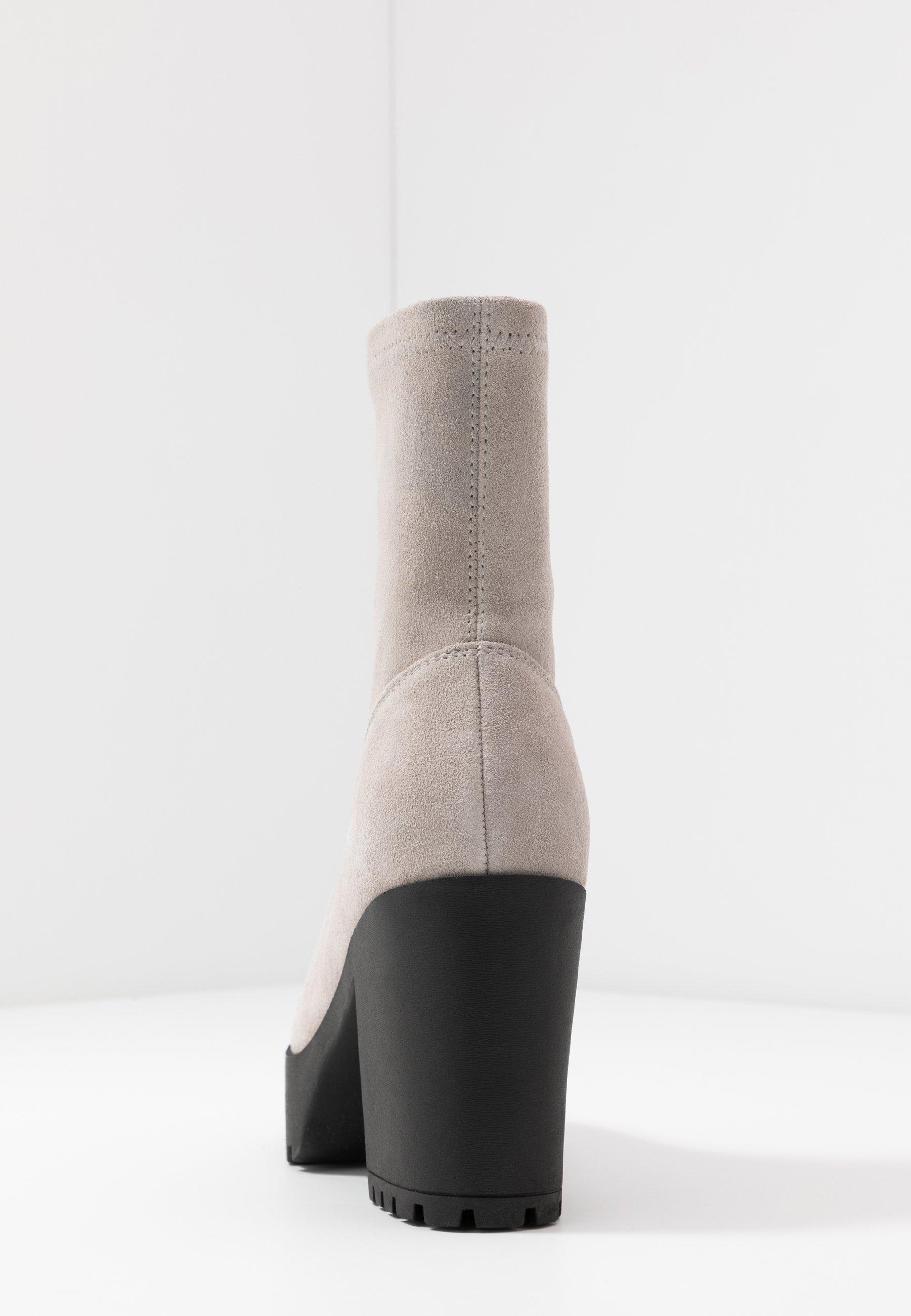 Even&odd Leather Platform Bootie - Enkellaarsjes Met Hoge Hak Taupe Goedkope Schoenen