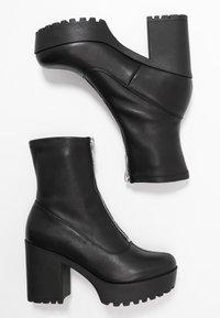 Even&Odd - LEATHER PLATFORM BOOTIE  - Kotníková obuv na vysokém podpatku - black - 3