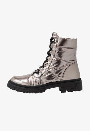 Šněrovací kotníkové boty - gunmetal