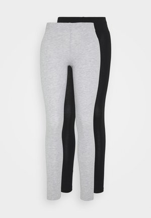2 PACK - Leggings - mottled light grey/black